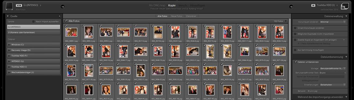 Bilderansicht im Kachelmodus Lightroom - der Kurs Importiren von Bildern